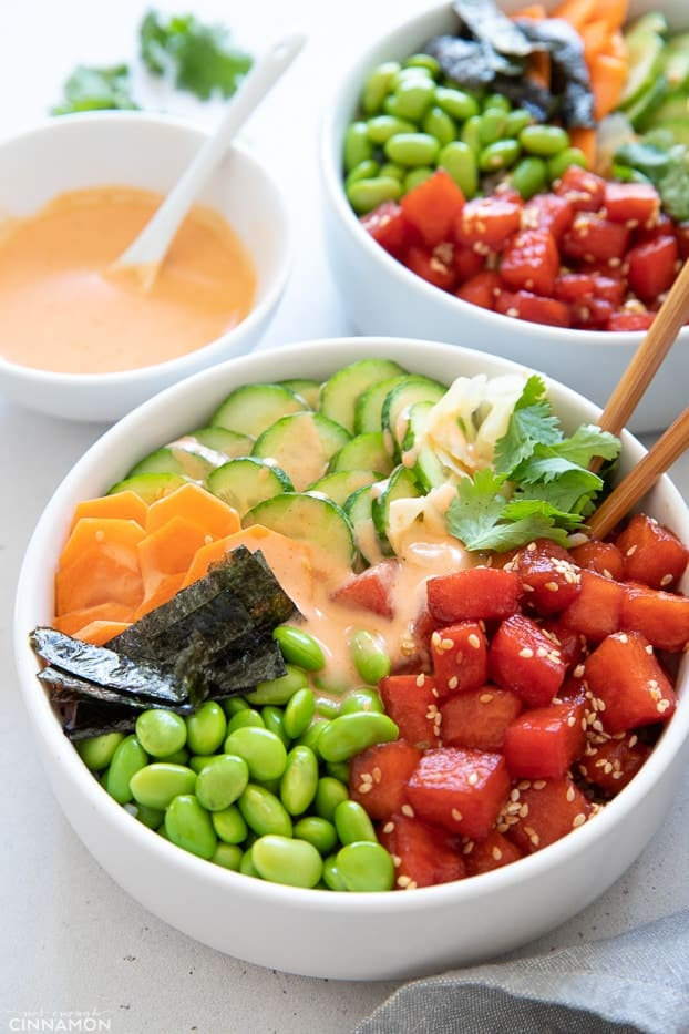 side view of vegan poke bowl with watermelon tuna