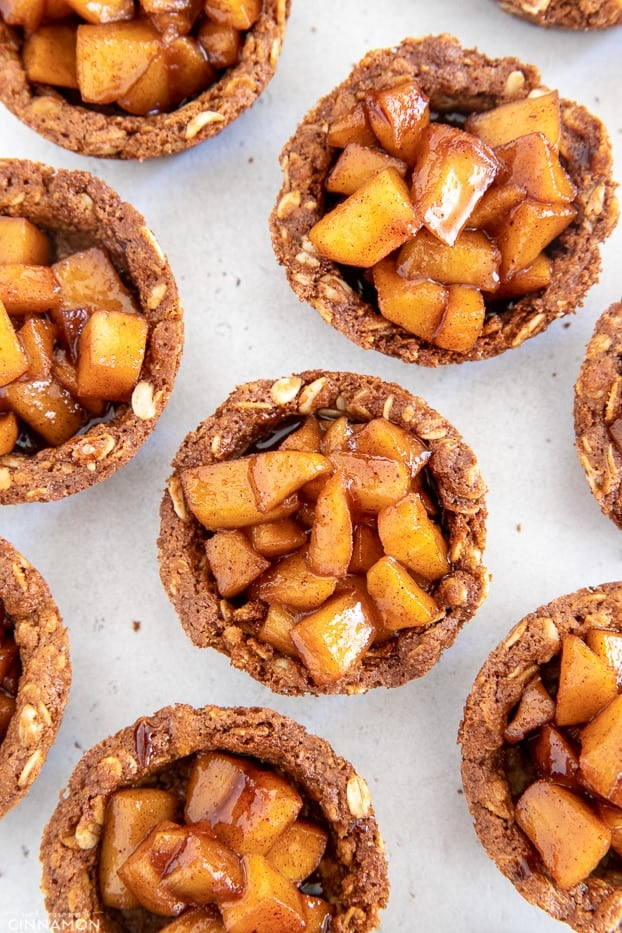 overhead shot of healthy apple crisp cookie cups