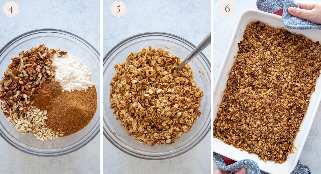 picture collage demonstrating how to make oat topping for apple crisp
