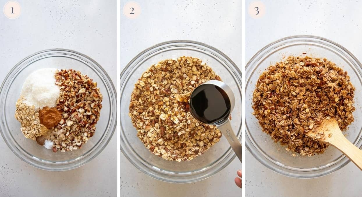 picture collage demonstrating how to make apple pie granola