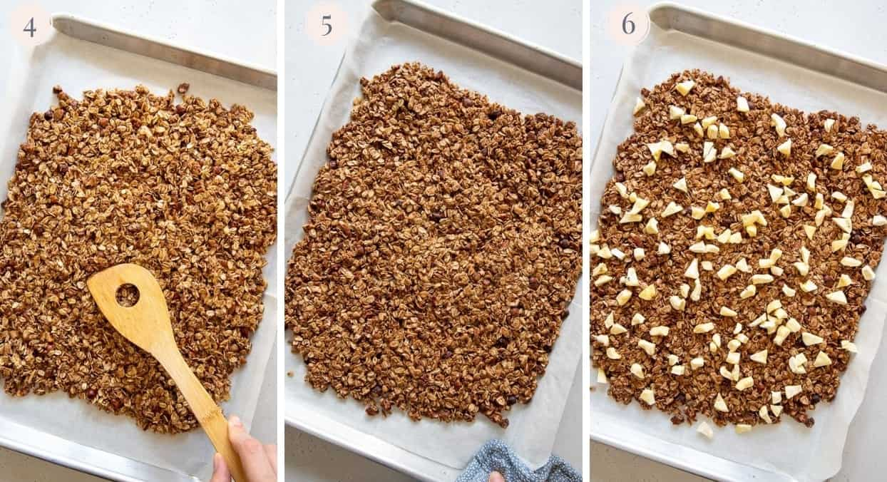 healthy apple pie granola being baked on a sheet pan - step by step pictures