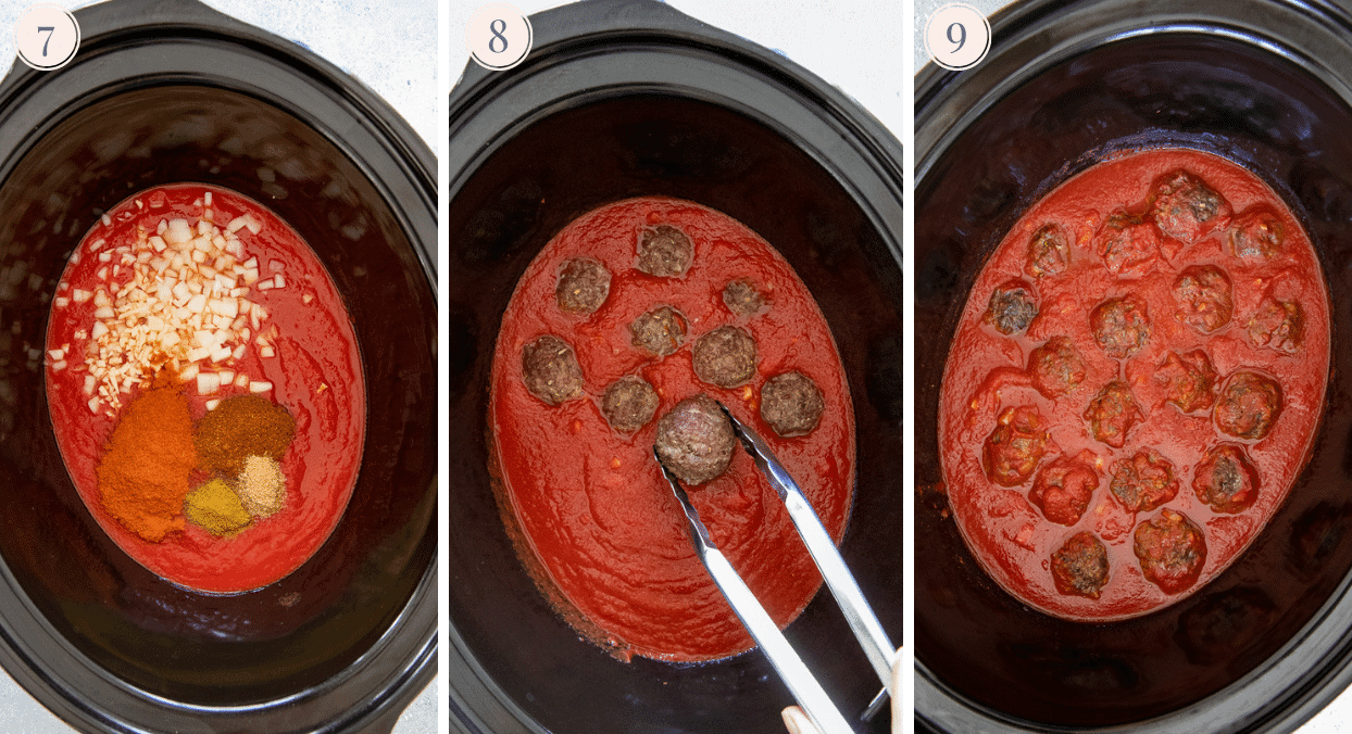 picture collage demonstrating how to make bbq beef meatballs in a slow cooker