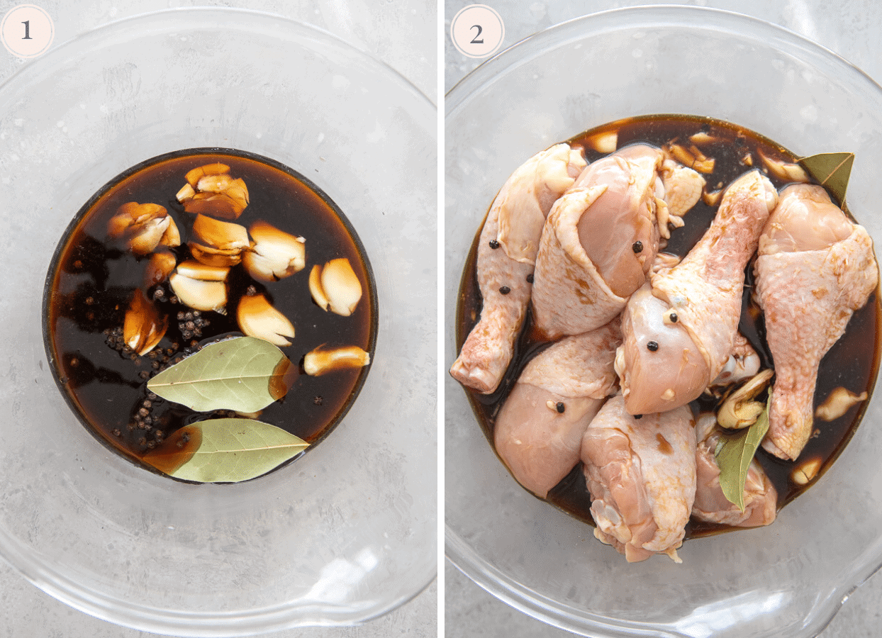 picture collage demonstrating how to marinate chicken drumsticks to make chicken adobo recipe