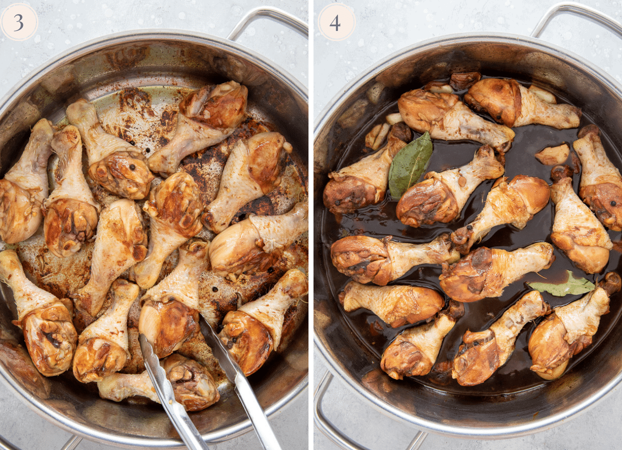 chicken drumsticks being seared in a silver saucepan then simmered in soy sauce to make chicken adobo