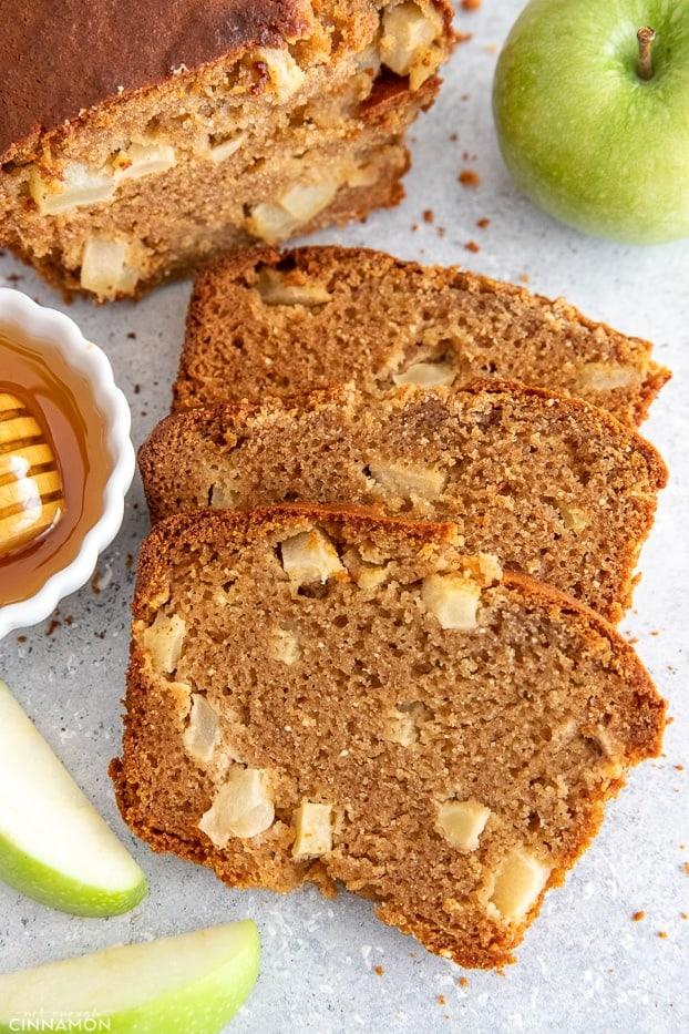 three slices of moist paleo honey apple bread