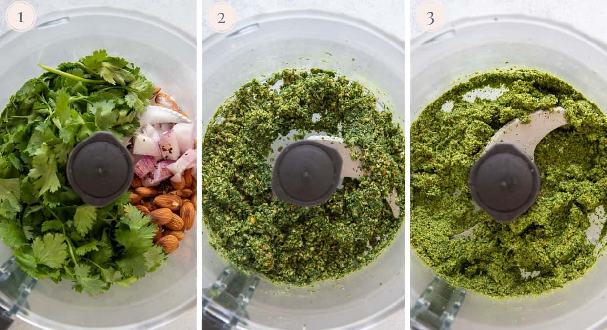 picture collage demonstrating how to make cilantro pesto in a blender