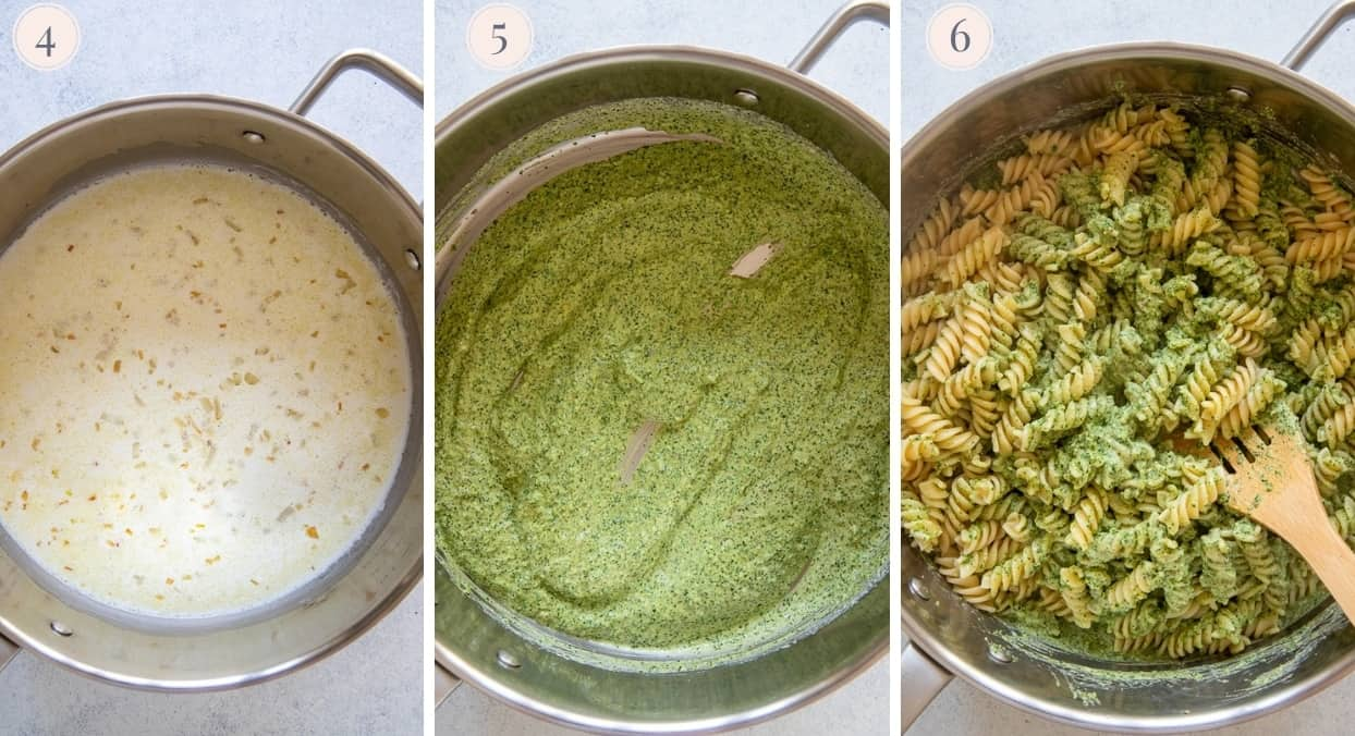 creamy cilantro pasta sauce being prepared in a saucepan and tossed with rotini