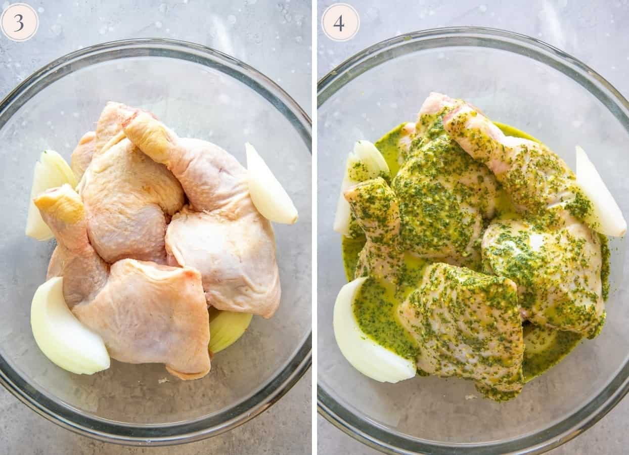 Chicken parts in a glass bowl covered in Cuban herb marinade