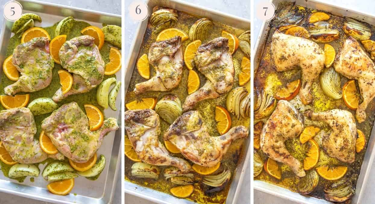 picture collage demonstrating how to roast Cuban Mojo Chicken on a sheet pan