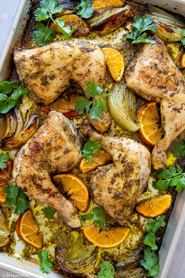 a baking sheet with Cuban Roasted Mojo Chicken