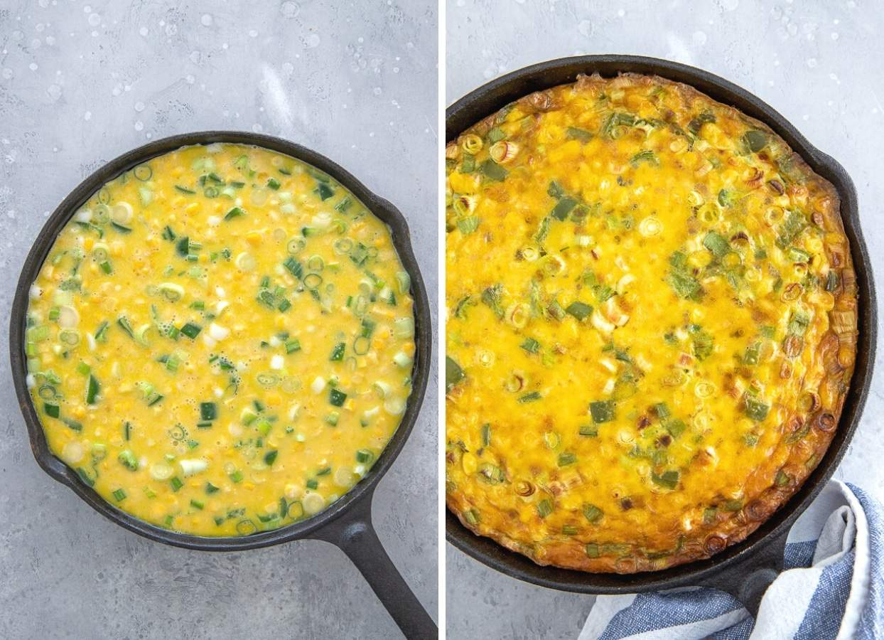 picture collage with a healthy dairy-free corn casserole before and after baking