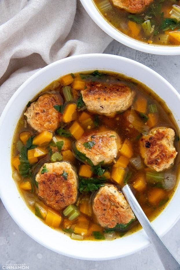 overhead shot of a bowl of Italian Wedding soup