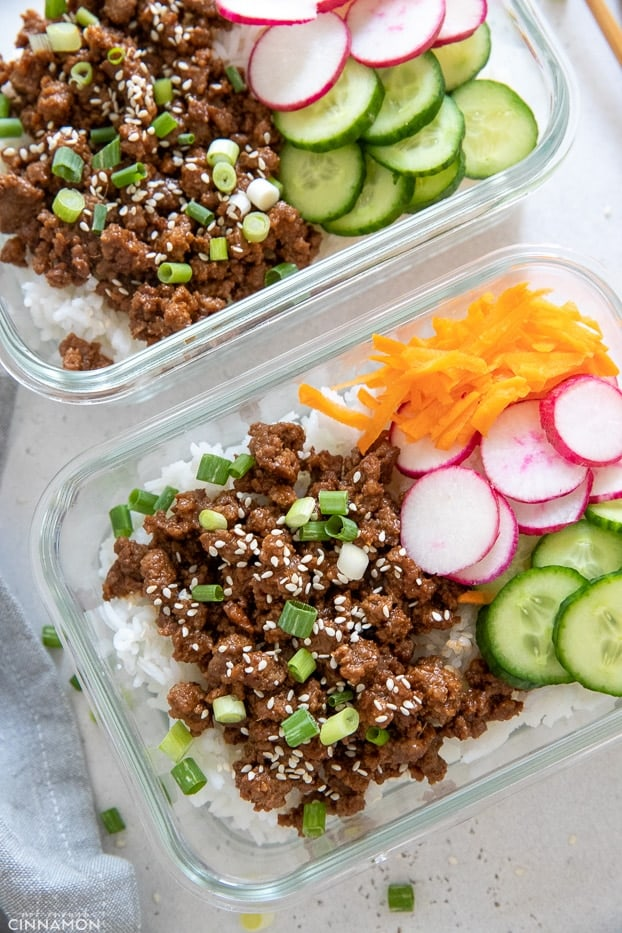 overhead shot of Korean Beef Bowls with rice and veggies