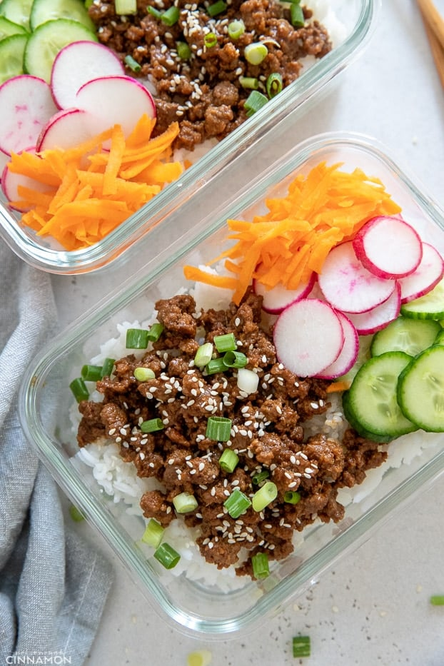 Korean Beef Bowls with rice and assorted veggies in Meal Prep Containers