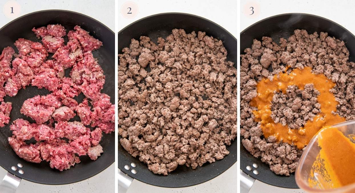 minced meat being browned in a black skillet