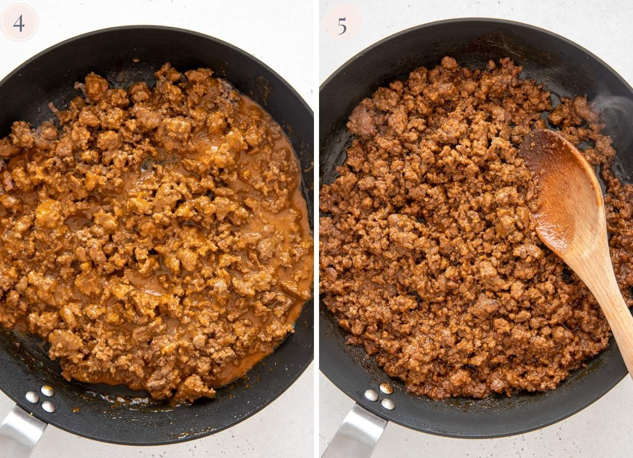 minced meat simmering in Korean sauce until thickened