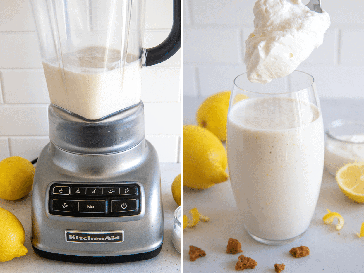 picture collage demonstrating how to make lemon cream pie protein shake using healthy ingredients