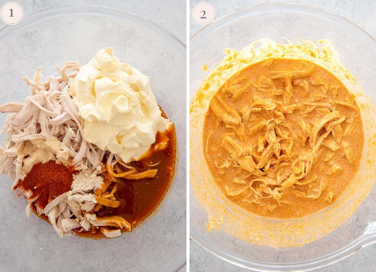 ingredients for healthy buffalo chicken dip being mixed in a glass bowl