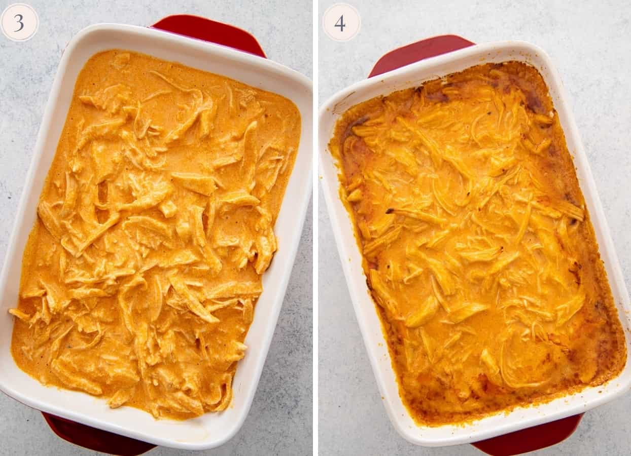 healthy buffalo chicken dip in a white casserole dish ready for baking