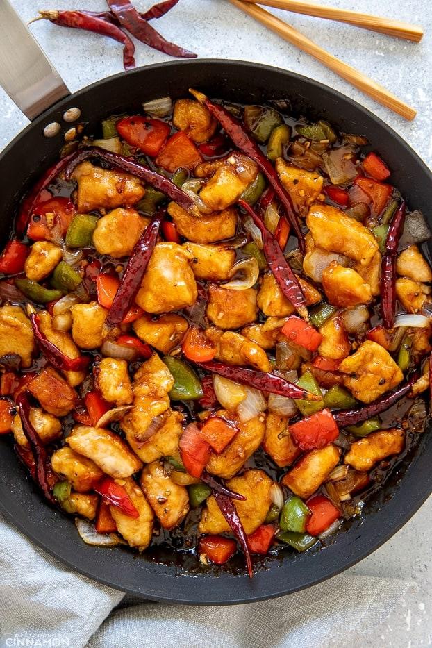 overhead shot of Chinese Szechuan Chicken Stir-fry