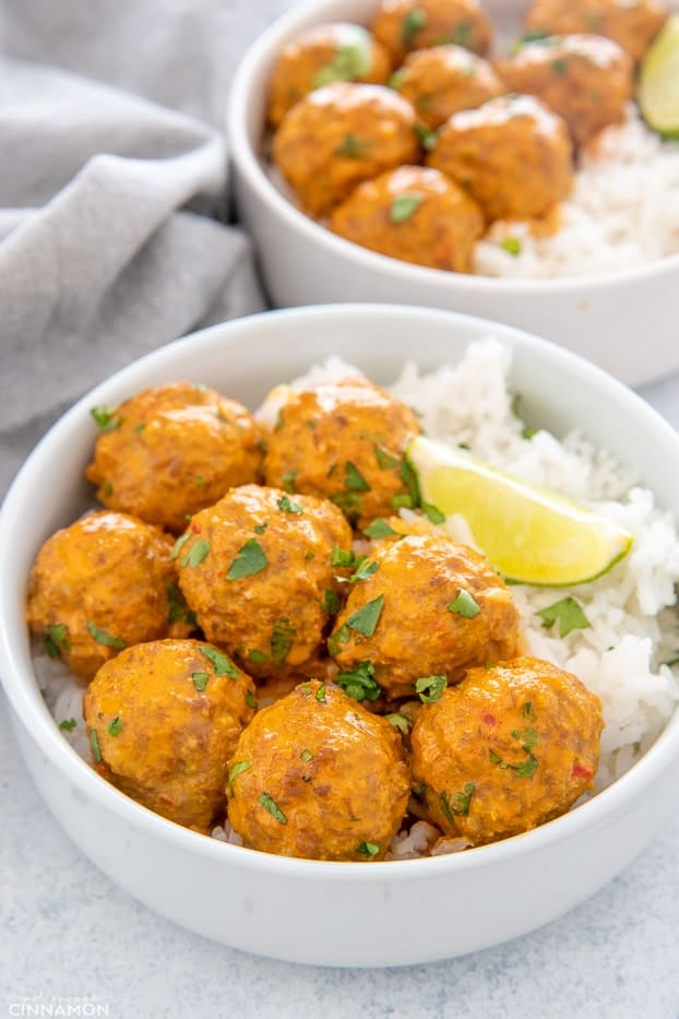 thai coconut curry meatballs served with rice