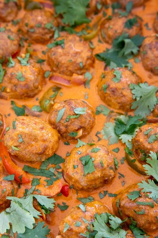 thai turkey meatballs swimming in coconut broth