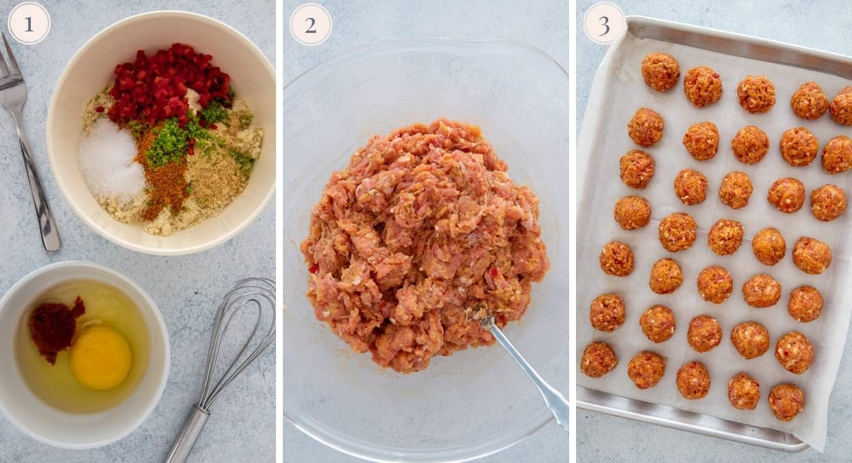 a picture collage demonstrating how to make baked turkey meatballs