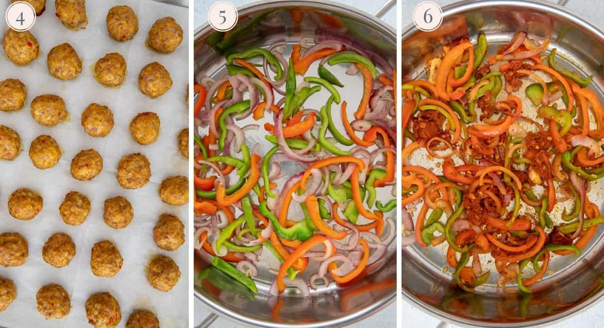 picture collage demonstrating how to bake turkey meatballs in the oven and make thai curry sauce