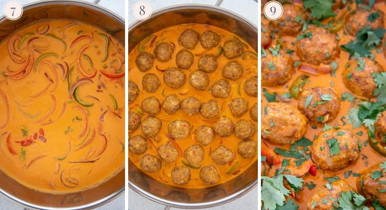 picture collage demonstrating how to make thai coconut curry