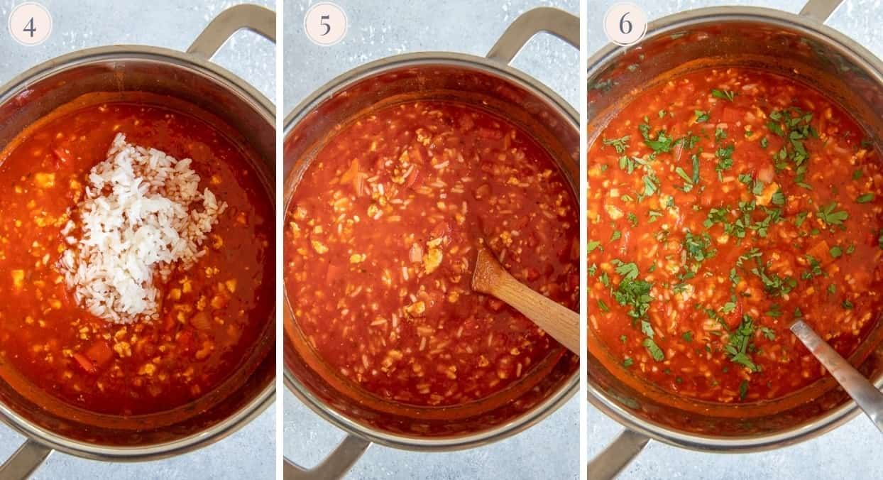 picture collage demonstrating how to make stuffed bell pepper soup in one pot