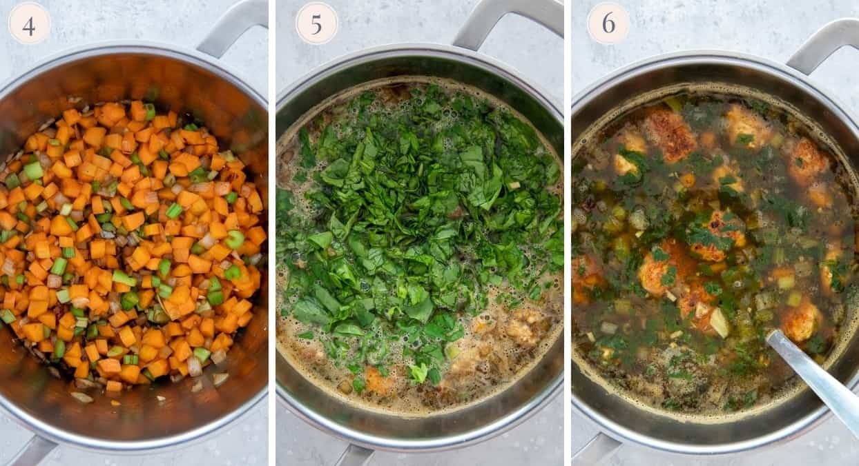 picture collage demonstrating how to make Italian wedding soup