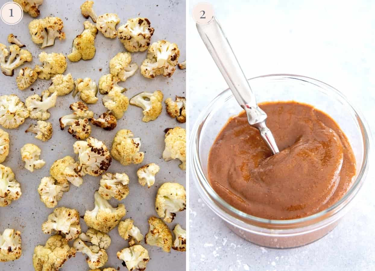 picture collage demonstrating how to roast cauliflower in the oven and stir together the almond butter sauce