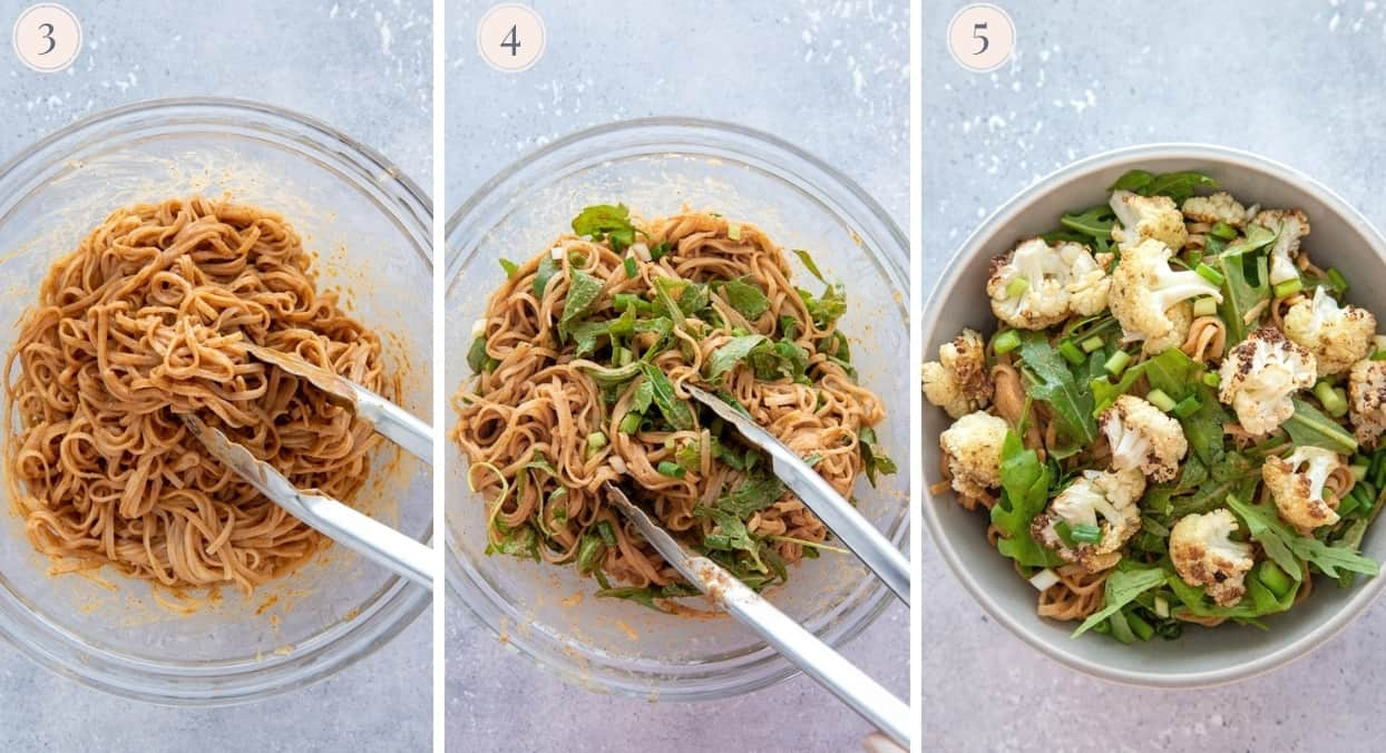 picture collage demonstrating how to make almond butter noodle bowls