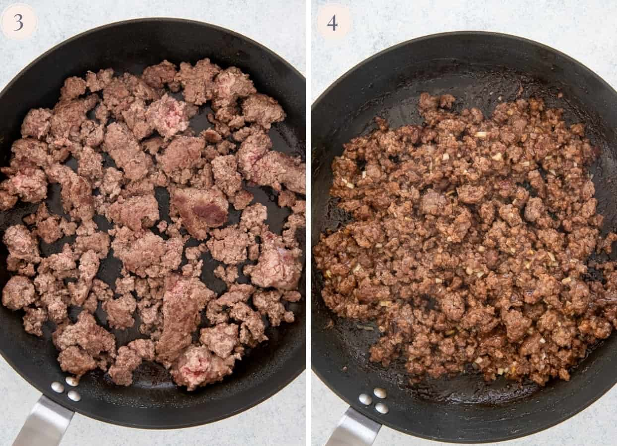 picture collage demonstrating how to make ground beef for banh mi bowls