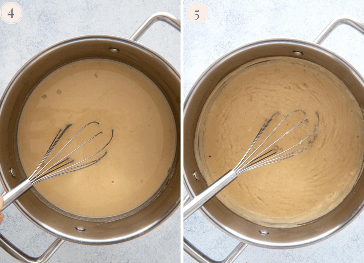 dairy-free vegan scalloped potato sauce being prepared in a saucepan