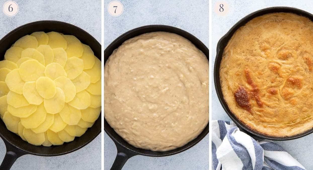 picture gallery demonstrating how to layer vegan scalloped potatoes in a skillet