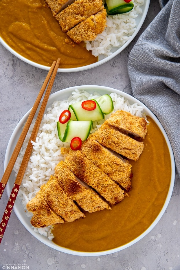 overhead shot of healthy paleo chicken katsu curry served with rice and mild Japanese curry sauce