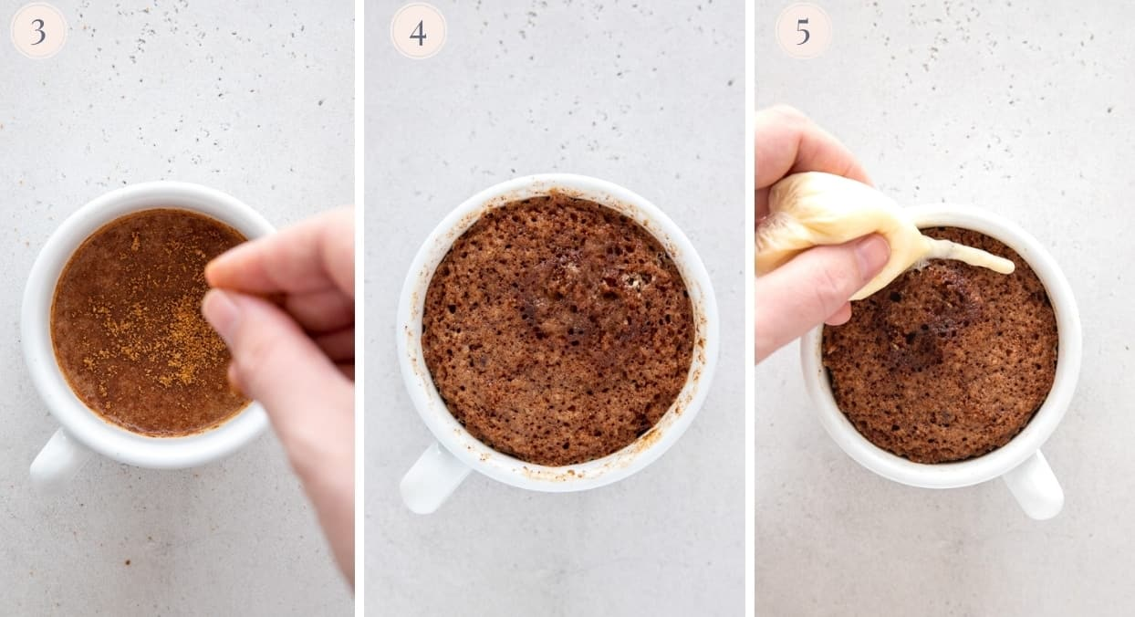 picture collage demonstrating how to bake mug cake in a microwave