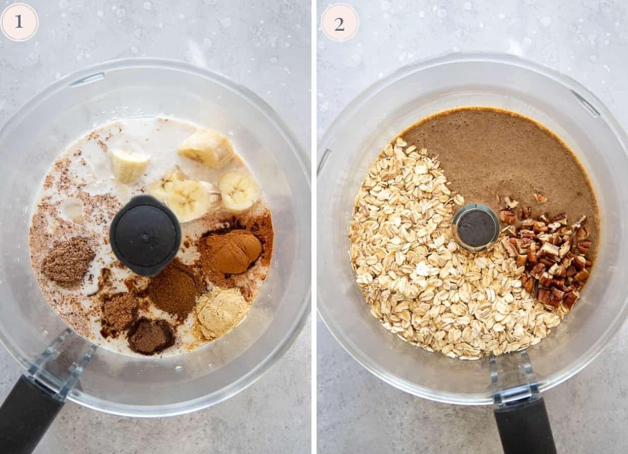 picture collage demonstrating how to make vegan gingerbread baked oatmeal batter in a food processor