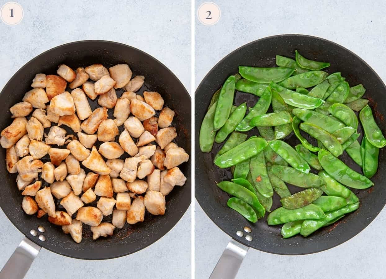 chicken and snow peas being sauteed in a a skillet