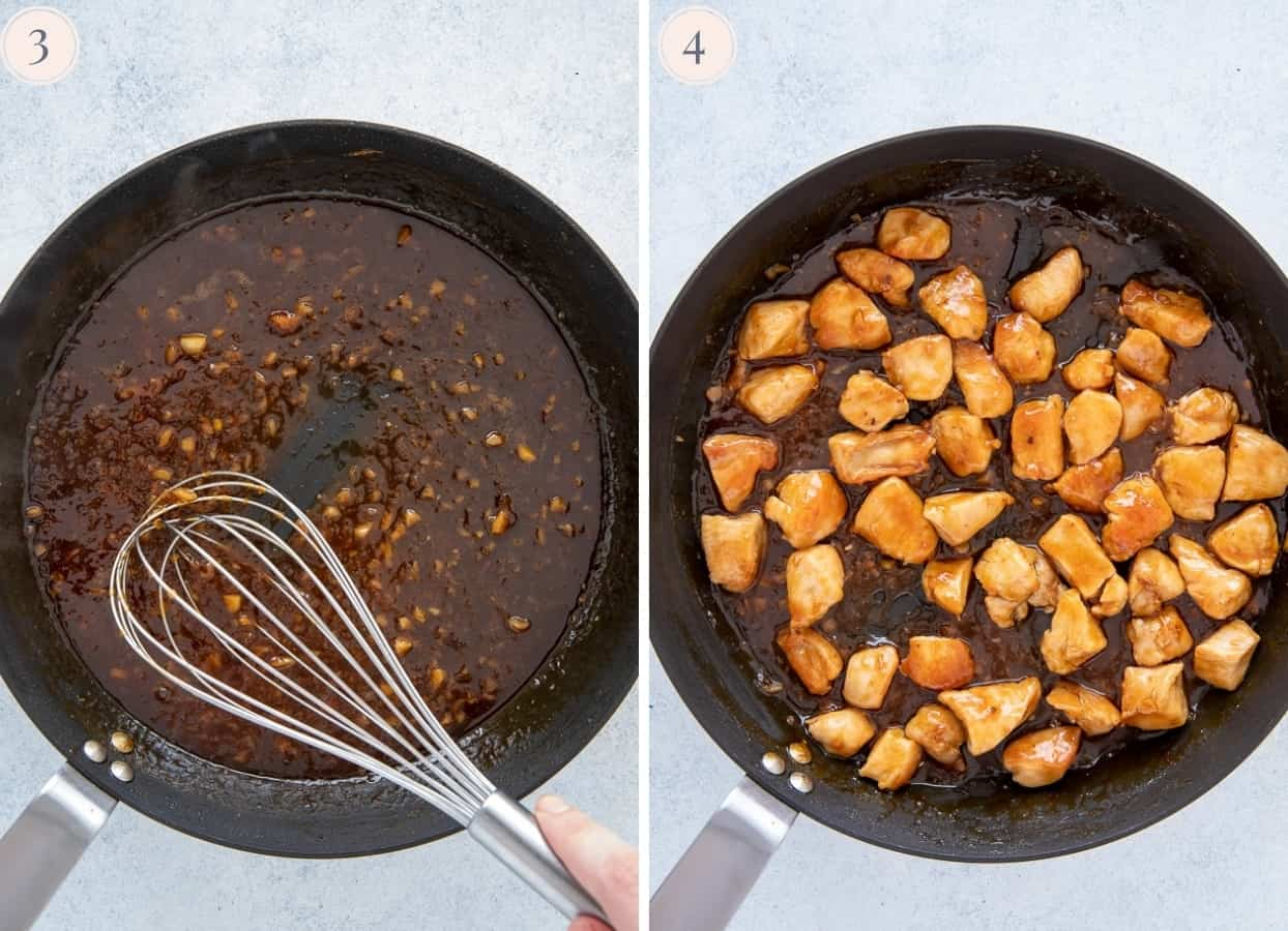 picture collage demonstrating how to make sticky orange glaze for Chinese orange chicken