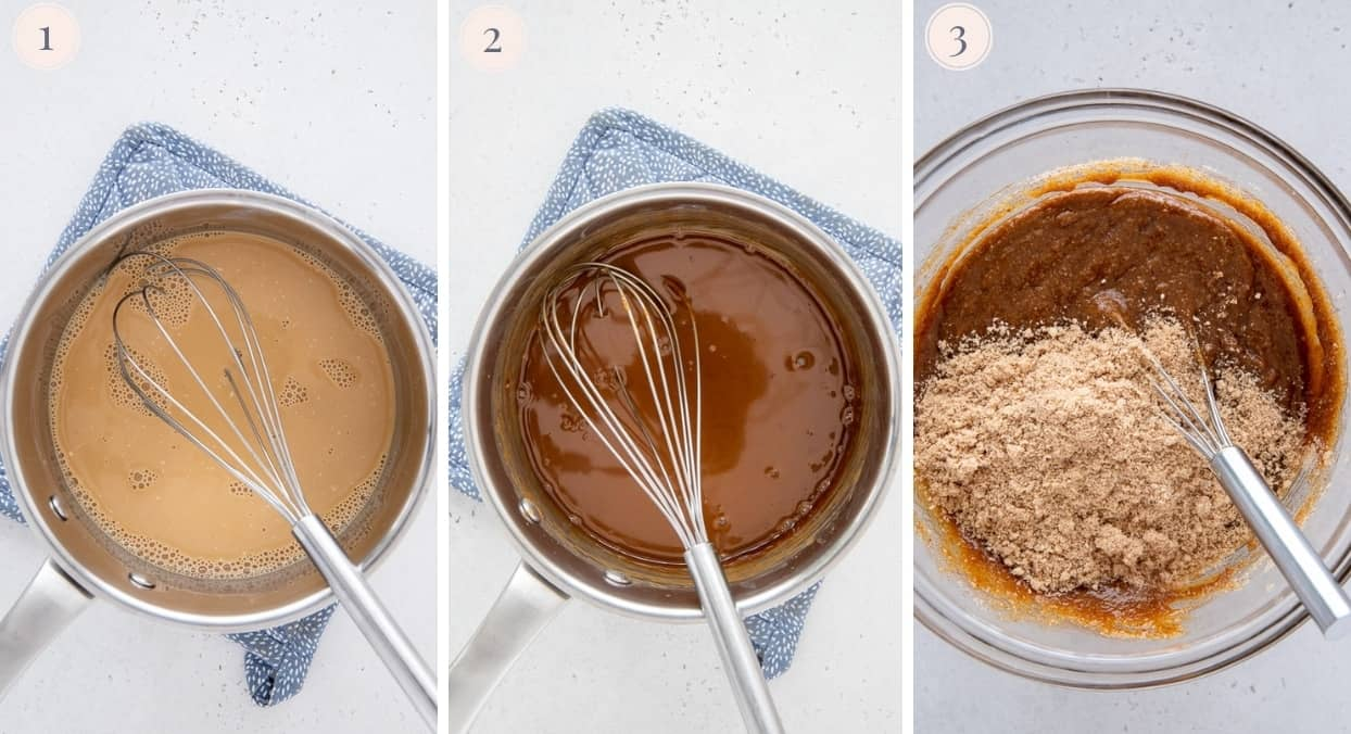 picture collage demonstrating how to make vegan salted caramel
