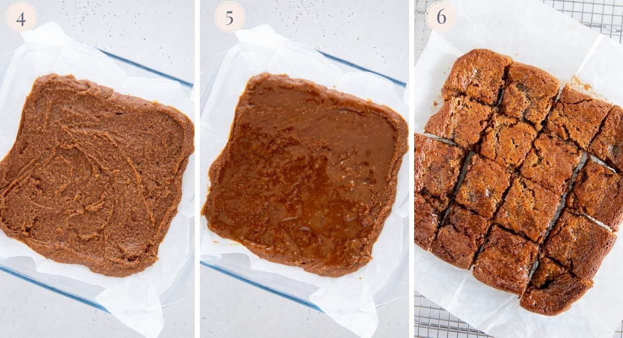 salted caramel blondies being baked