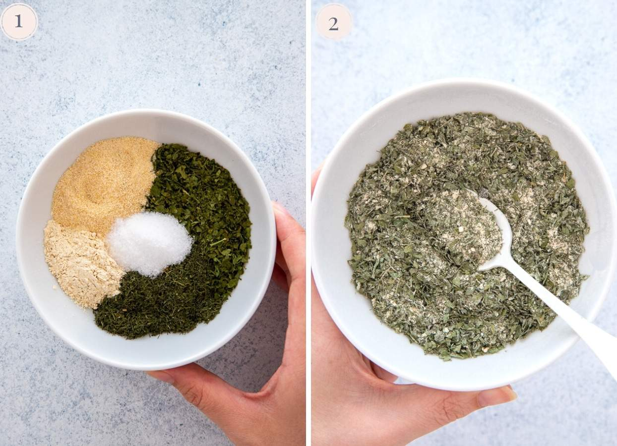picture collage demonstrating how to make vegan ranch seasoning for sheet pan chicken recipe