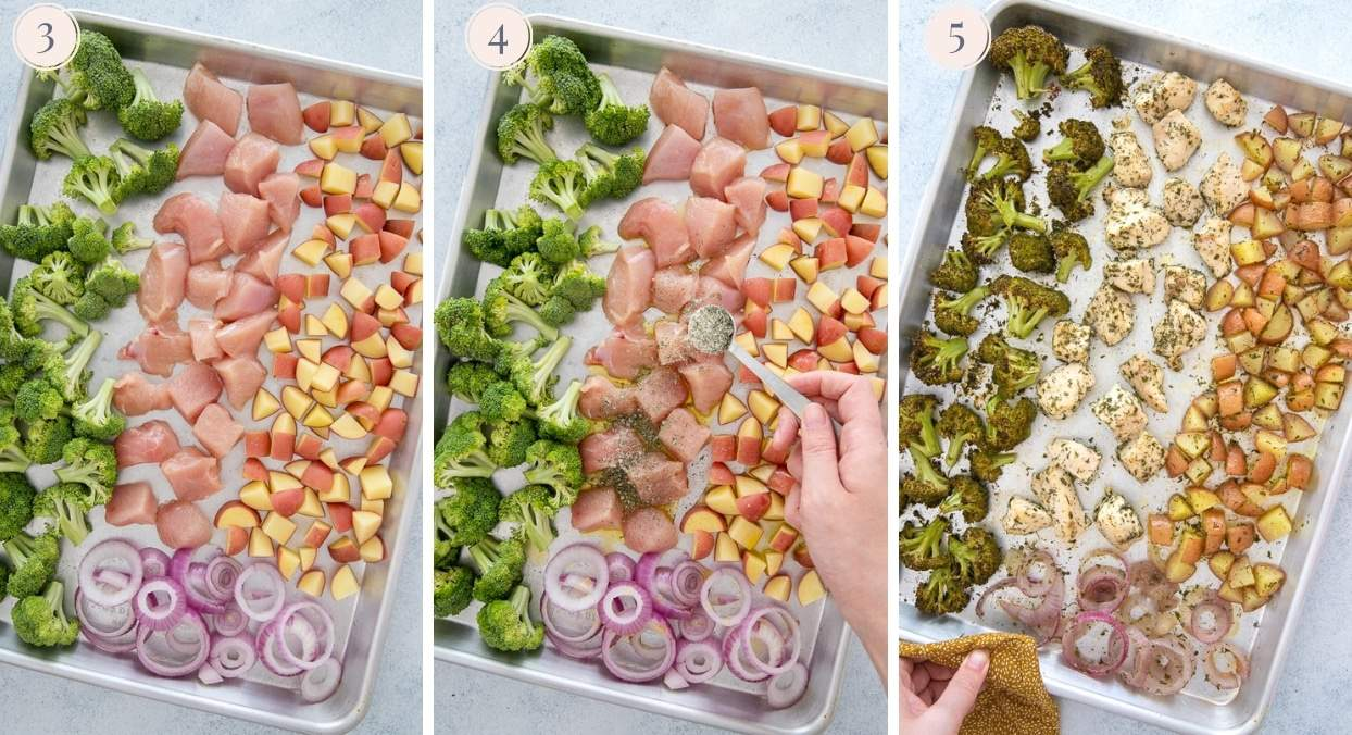 picture collage demonstrating how to make sheet pan ranch chicken