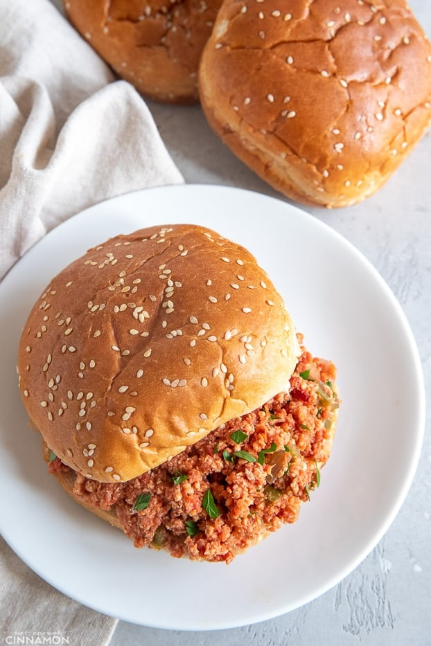 overhead shot of a burger bun filled with turkey sloppy joes