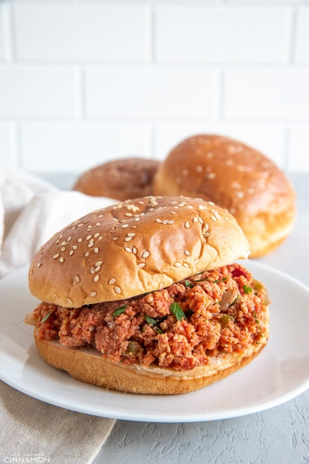 healthy Slow Cooker Ground Turkey Sloppy Joes served in a burger bun