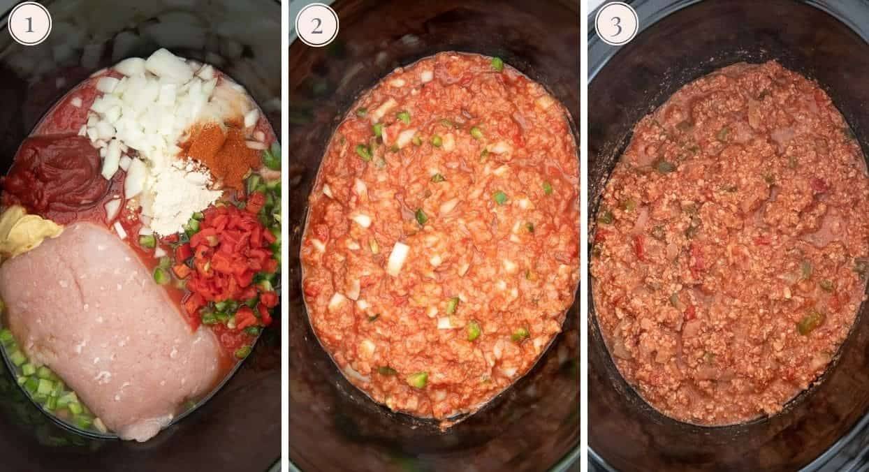 a picture collage demonstrating how to make turkey sloppy joes in a slow cooker
