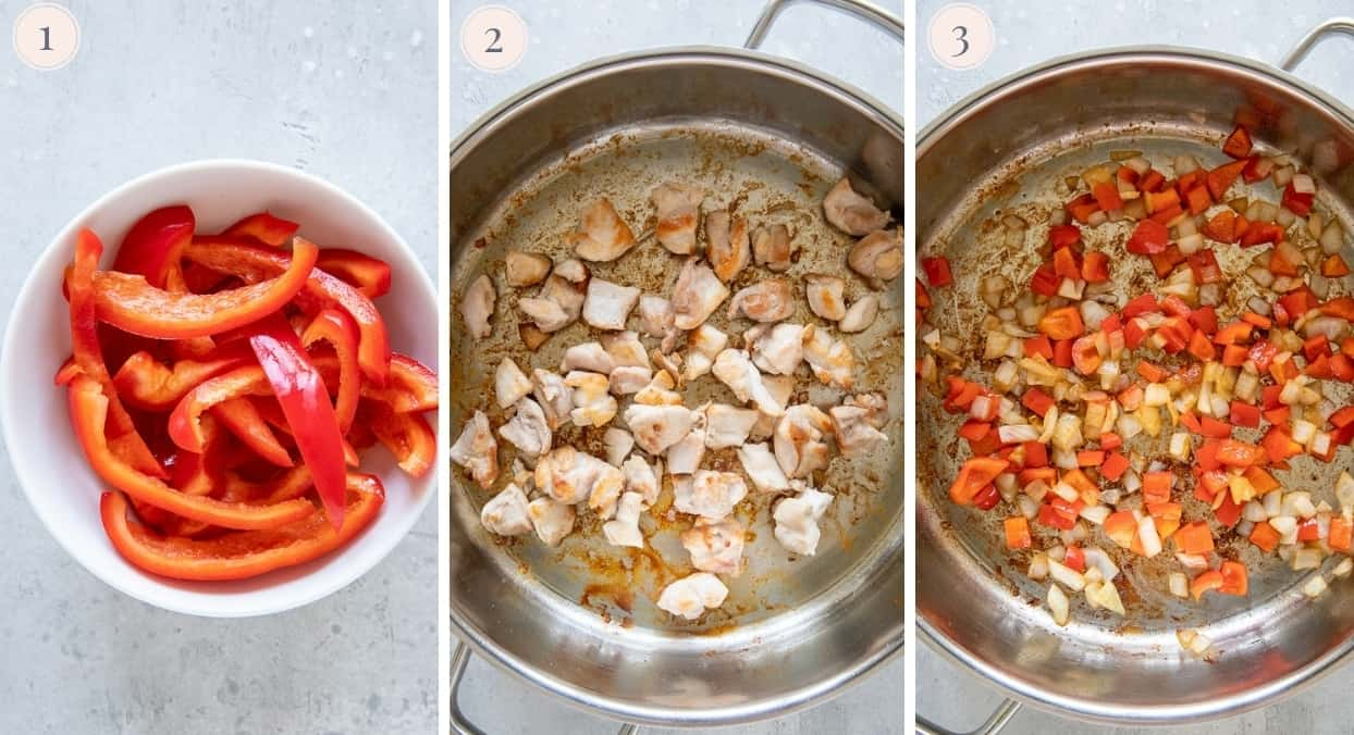 a picture collage demonstrating how to start cook chicken for jollof rice recipe