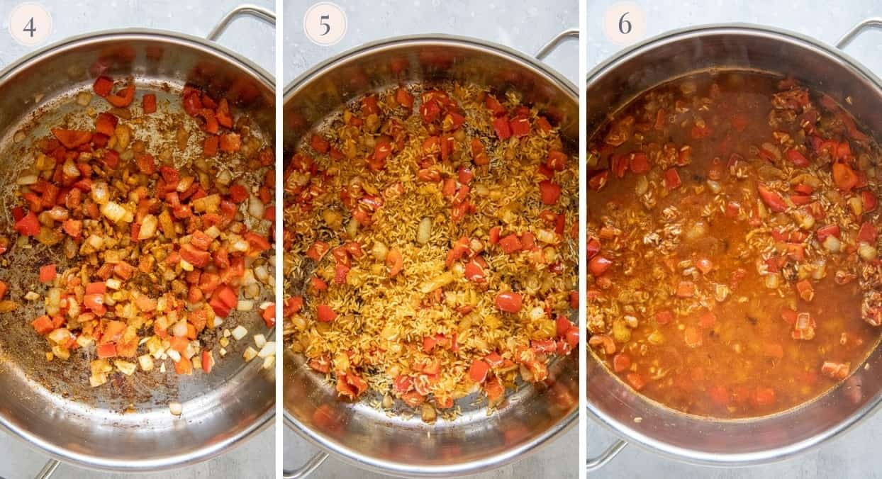 picture collage demonstrating how to cook West African Jollof rice on the stovetop